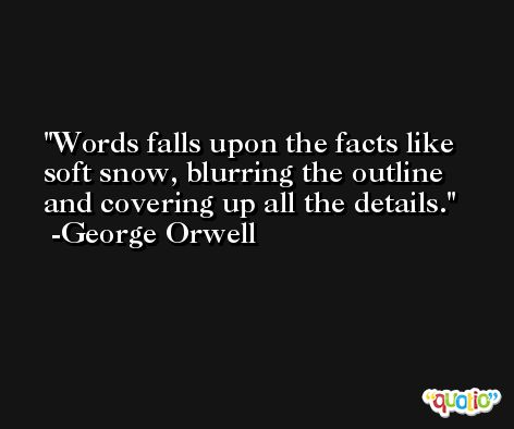 Words falls upon the facts like soft snow, blurring the outline and covering up all the details. -George Orwell