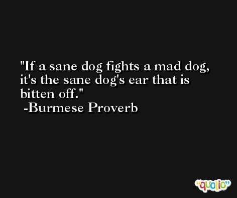 If a sane dog fights a mad dog, it's the sane dog's ear that is bitten off. -Burmese Proverb
