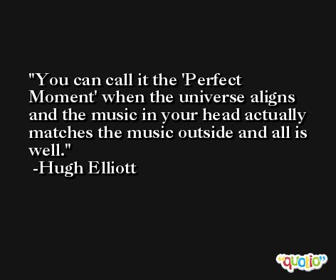 You can call it the 'Perfect Moment' when the universe aligns and the music in your head actually matches the music outside and all is well. -Hugh Elliott