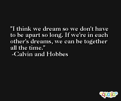 I think we dream so we don't have to be apart so long. If we're in each other's dreams, we can be together all the time. -Calvin and Hobbes