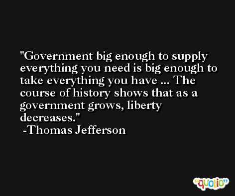 Government big enough to supply everything you need is big enough to take everything you have ... The course of history shows that as a government grows, liberty decreases. -Thomas Jefferson