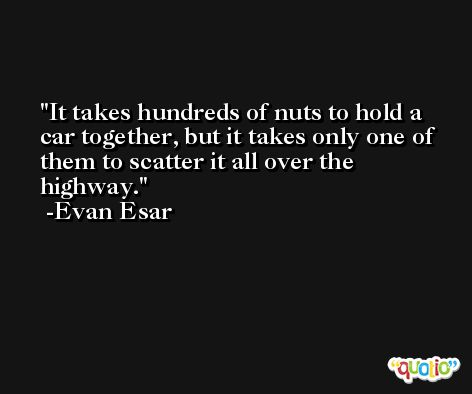 It takes hundreds of nuts to hold a car together, but it takes only one of them to scatter it all over the highway. -Evan Esar