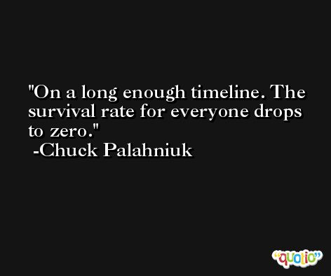 On a long enough timeline. The survival rate for everyone drops to zero. -Chuck Palahniuk