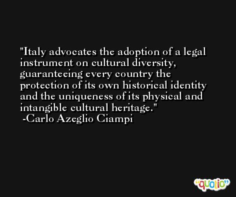 Italy advocates the adoption of a legal instrument on cultural diversity, guaranteeing every country the protection of its own historical identity and the uniqueness of its physical and intangible cultural heritage. -Carlo Azeglio Ciampi
