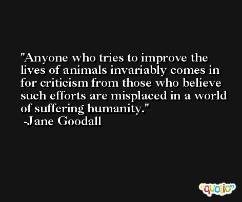 Anyone who tries to improve the lives of animals invariably comes in for criticism from those who believe such efforts are misplaced in a world of suffering humanity. -Jane Goodall