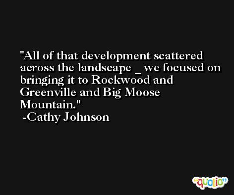 All of that development scattered across the landscape _ we focused on bringing it to Rockwood and Greenville and Big Moose Mountain. -Cathy Johnson