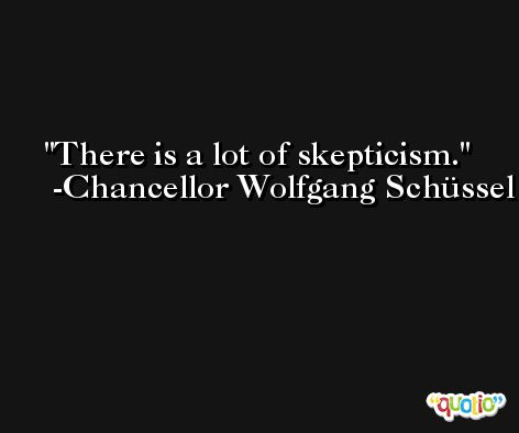There is a lot of skepticism. -Chancellor Wolfgang Schüssel