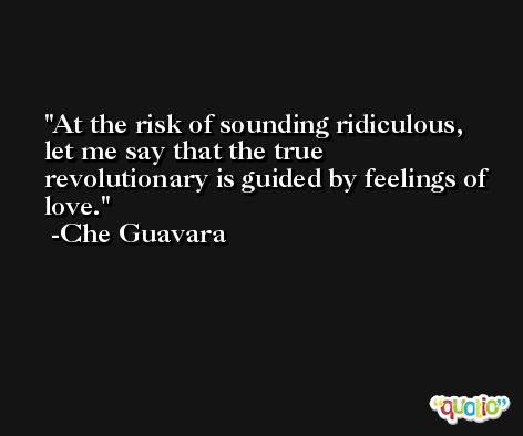 At the risk of sounding ridiculous, let me say that the true revolutionary is guided by feelings of love. -Che Guavara
