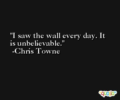 I saw the wall every day. It is unbelievable. -Chris Towne