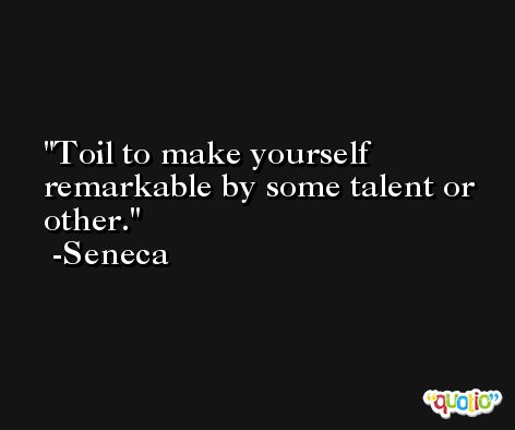 Toil to make yourself remarkable by some talent or other. -Seneca