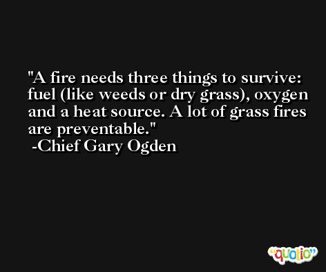 A fire needs three things to survive: fuel (like weeds or dry grass), oxygen and a heat source. A lot of grass fires are preventable. -Chief Gary Ogden