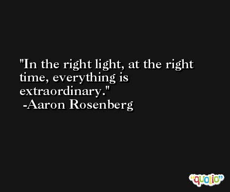 In the right light, at the right time, everything is extraordinary. -Aaron Rosenberg