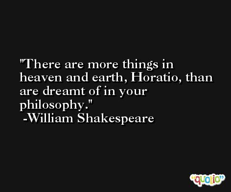 There are more things in heaven and earth, Horatio, than are dreamt of in your philosophy. -William Shakespeare