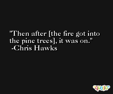Then after [the fire got into the pine trees], it was on. -Chris Hawks