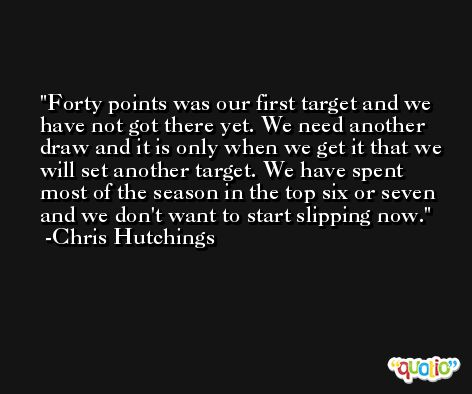 Forty points was our first target and we have not got there yet. We need another draw and it is only when we get it that we will set another target. We have spent most of the season in the top six or seven and we don't want to start slipping now. -Chris Hutchings