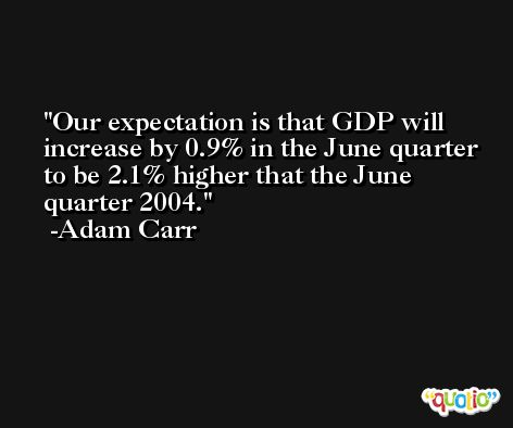 Our expectation is that GDP will increase by 0.9% in the June quarter to be 2.1% higher that the June quarter 2004. -Adam Carr