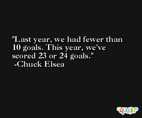 Last year, we had fewer than 10 goals. This year, we've scored 23 or 24 goals. -Chuck Elsea