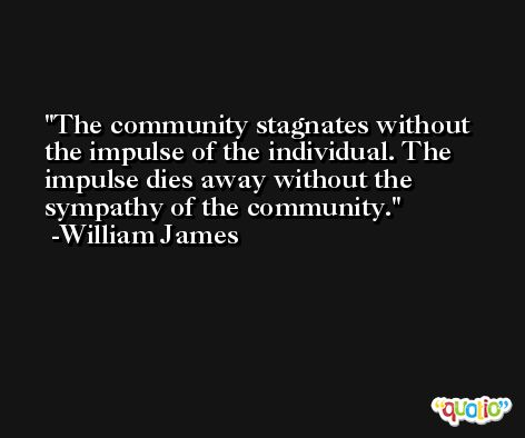 The community stagnates without the impulse of the individual. The impulse dies away without the sympathy of the community. -William James