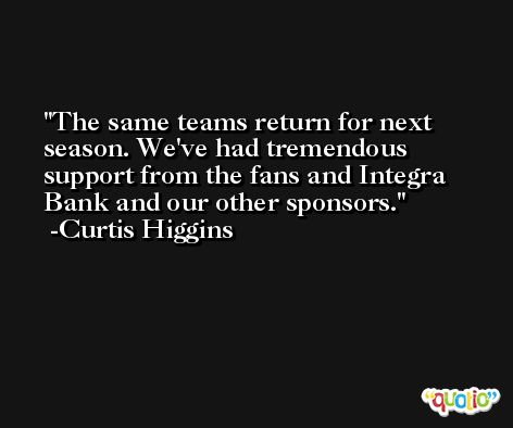 The same teams return for next season. We've had tremendous support from the fans and Integra Bank and our other sponsors. -Curtis Higgins