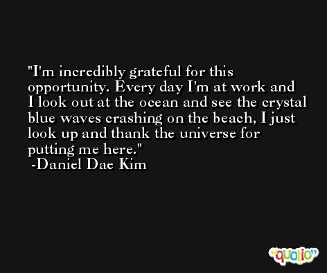 I'm incredibly grateful for this opportunity. Every day I'm at work and I look out at the ocean and see the crystal blue waves crashing on the beach, I just look up and thank the universe for putting me here. -Daniel Dae Kim