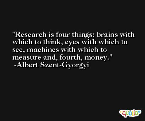 Research is four things: brains with which to think, eyes with which to see, machines with which to measure and, fourth, money. -Albert Szent-Gyorgyi