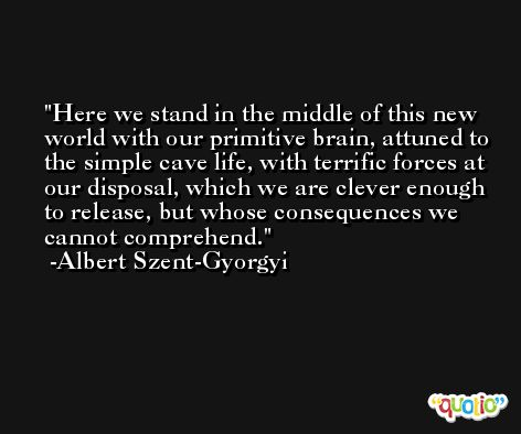 Here we stand in the middle of this new world with our primitive brain, attuned to the simple cave life, with terrific forces at our disposal, which we are clever enough to release, but whose consequences we cannot comprehend. -Albert Szent-Gyorgyi