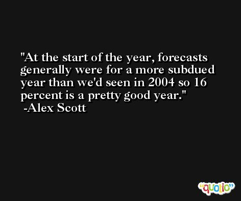 At the start of the year, forecasts generally were for a more subdued year than we'd seen in 2004 so 16 percent is a pretty good year. -Alex Scott