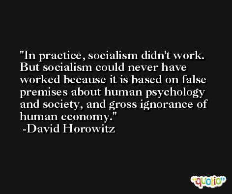 In practice, socialism didn't work. But socialism could never have worked because it is based on false premises about human psychology and society, and gross ignorance of human economy. -David Horowitz