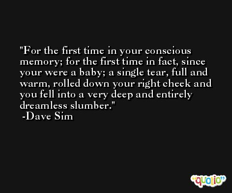 For the first time in your conscious memory; for the first time in fact, since your were a baby; a single tear, full and warm, rolled down your right cheek and you fell into a very deep and entirely dreamless slumber. -Dave Sim