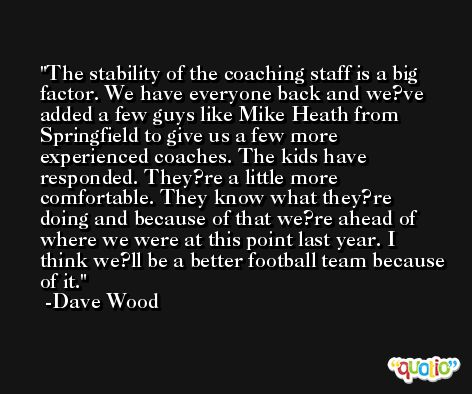 The stability of the coaching staff is a big factor. We have everyone back and we?ve added a few guys like Mike Heath from Springfield to give us a few more experienced coaches. The kids have responded. They?re a little more comfortable. They know what they?re doing and because of that we?re ahead of where we were at this point last year. I think we?ll be a better football team because of it. -Dave Wood