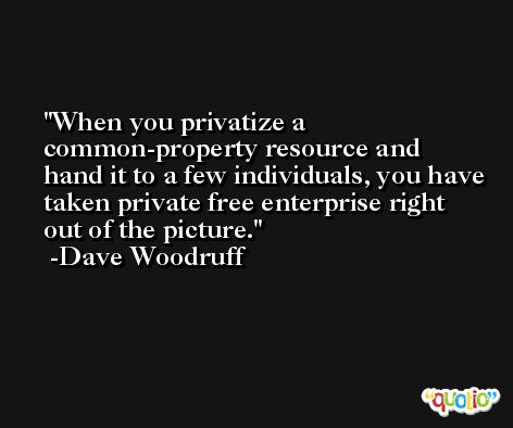 When you privatize a common-property resource and hand it to a few individuals, you have taken private free enterprise right out of the picture. -Dave Woodruff