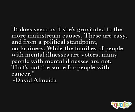 It does seem as if she's gravitated to the more mainstream causes. These are easy, and from a political standpoint, no-brainers. While the families of people with mental illnesses are voters, many people with mental illnesses are not. That's not the same for people with cancer. -David Almeida