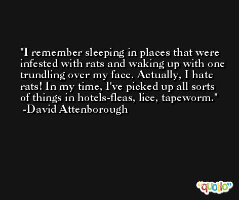 I remember sleeping in places that were infested with rats and waking up with one trundling over my face. Actually, I hate rats! In my time, I've picked up all sorts of things in hotels-fleas, lice, tapeworm. -David Attenborough