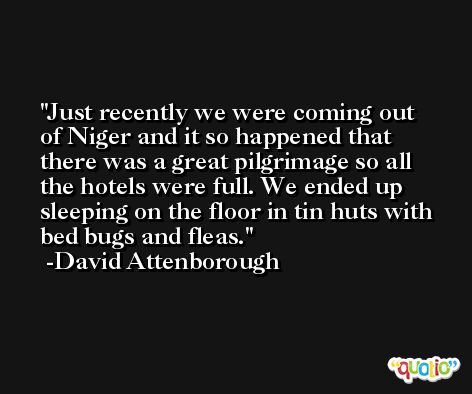 Just recently we were coming out of Niger and it so happened that there was a great pilgrimage so all the hotels were full. We ended up sleeping on the floor in tin huts with bed bugs and fleas. -David Attenborough