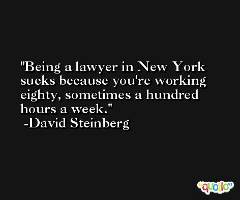 Being a lawyer in New York sucks because you're working eighty, sometimes a hundred hours a week. -David Steinberg