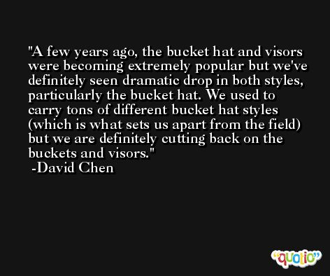A few years ago, the bucket hat and visors were becoming extremely popular but we've definitely seen dramatic drop in both styles, particularly the bucket hat. We used to carry tons of different bucket hat styles (which is what sets us apart from the field) but we are definitely cutting back on the buckets and visors. -David Chen