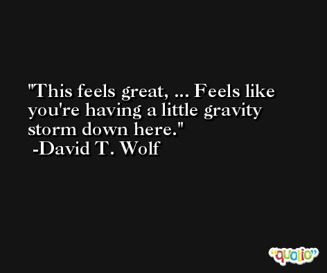 This feels great, ... Feels like you're having a little gravity storm down here. -David T. Wolf