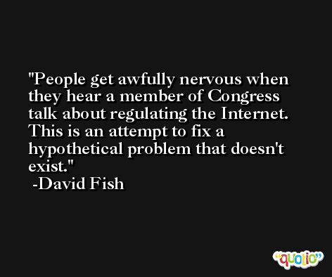 People get awfully nervous when they hear a member of Congress talk about regulating the Internet. This is an attempt to fix a hypothetical problem that doesn't exist. -David Fish