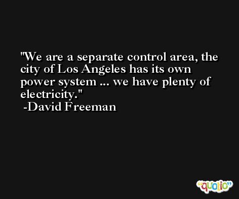 We are a separate control area, the city of Los Angeles has its own power system ... we have plenty of electricity. -David Freeman