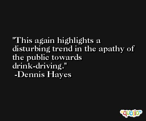 This again highlights a disturbing trend in the apathy of the public towards drink-driving. -Dennis Hayes