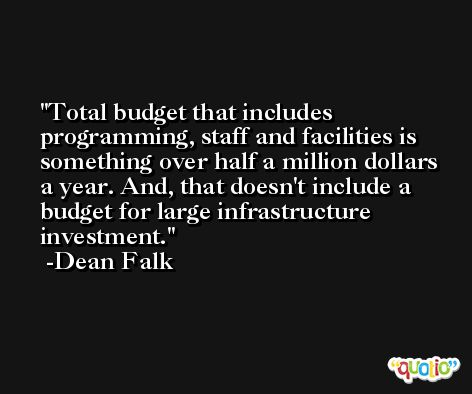 Total budget that includes programming, staff and facilities is something over half a million dollars a year. And, that doesn't include a budget for large infrastructure investment. -Dean Falk