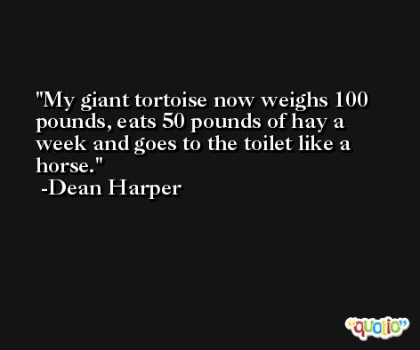 My giant tortoise now weighs 100 pounds, eats 50 pounds of hay a week and goes to the toilet like a horse. -Dean Harper