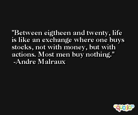 Between eigtheen and twenty, life is like an exchange where one buys stocks, not with money, but with actions. Most men buy nothing. -Andre Malraux