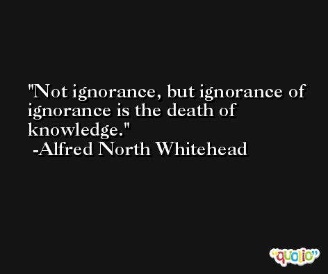 Not ignorance, but ignorance of ignorance is the death of knowledge. -Alfred North Whitehead
