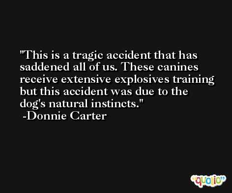 This is a tragic accident that has saddened all of us. These canines receive extensive explosives training but this accident was due to the dog's natural instincts. -Donnie Carter