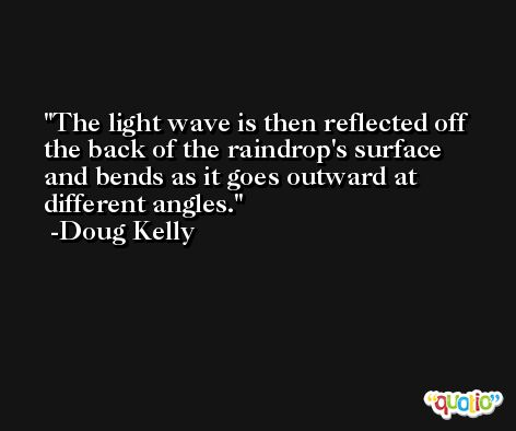 The light wave is then reflected off the back of the raindrop's surface and bends as it goes outward at different angles. -Doug Kelly