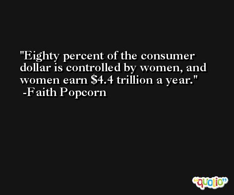 Eighty percent of the consumer dollar is controlled by women, and women earn $4.4 trillion a year. -Faith Popcorn