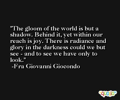 The gloom of the world is but a shadow. Behind it, yet within our reach is joy. There is radiance and glory in the darkness could we but see - and to see we have only to look. -Fra Giovanni Giocondo