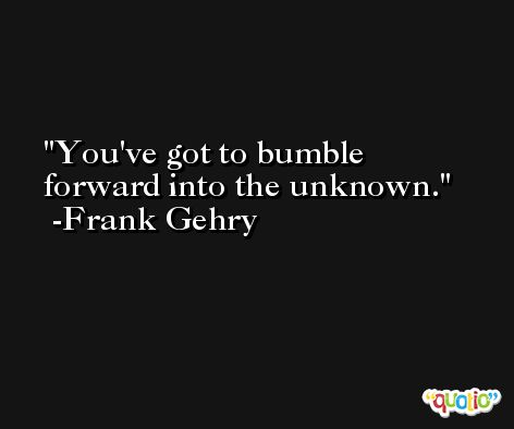 You've got to bumble forward into the unknown. -Frank Gehry