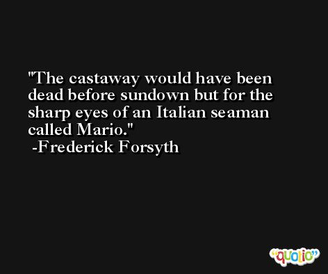 The castaway would have been dead before sundown but for the sharp eyes of an Italian seaman called Mario. -Frederick Forsyth